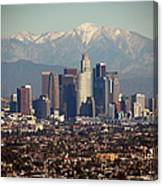Los Angeles Skyline With Snow Capped Canvas Print