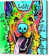 Love And A Dog Canvas Print