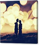 Loving Couple Standing In A Cozy Winter Scenery. Canvas Print