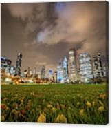 Low Angle Picture Of Downtown Chicago Skyline During Winter Nigh Canvas Print