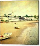 Low Tide Provincetown Cape Cod Massachusetts Shoreline Textured Canvas Print