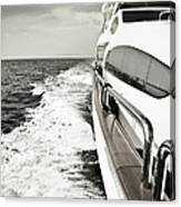Luxury Yacht Sailing At High Speed In Canvas Print