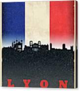 Lyon France City Skyline Flag Canvas Print