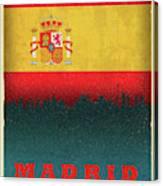 Madrid Spain City Skyline Flag Canvas Print