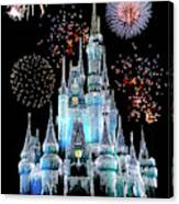 Magic Kingdom Castle In Frosty Light Blue With Fireworks 06 Canvas Print