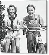 Man And Woman Riding Bikes, B&w, Low Canvas Print