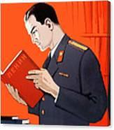 Man Is Reading Lenin Books Canvas Print