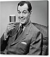 Man Sitting & Having A Beer Canvas Print