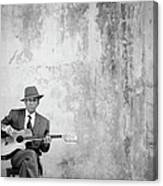 Man Sitting, Playing Guitar, Portrait Canvas Print