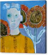 Man With Sunflowers Canvas Print