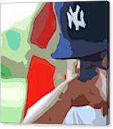 Man With Yankees Cap Canvas Print