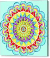 Mandala Of Many Colors On Turquoise Canvas Print