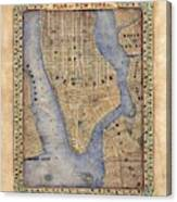 Manhattan New York Antique Map Brooklyn Hand Painted Canvas Print