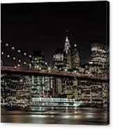Manhattan Skyline And Brooklyn Bridge Idyllic Nightscape - Panoramic Canvas Print