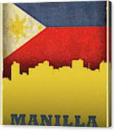 Manilla Philippines City Skyline Flag Canvas Print