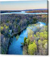 Manistee River And Hodenpyle Dam Aerial Canvas Print