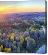 Manistee River Sunset Aerial Canvas Print