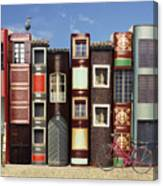 Many Books With Windows Doors Lamps In Canvas Print