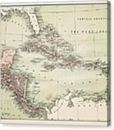 Map Od The Caribbean 1860 Canvas Print
