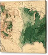 Map Of American Forests 1883 Canvas Print