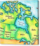 Map Of Canada Canvas Print