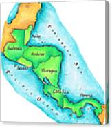 Map Of Central America Canvas Print
