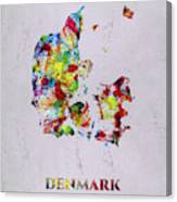 Map Of Denmark, Water Color Artist Singh Canvas Print