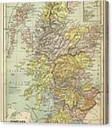 Map Of Scotland 1883 Canvas Print