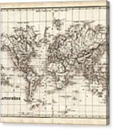 Map Of The World 1842 Canvas Print