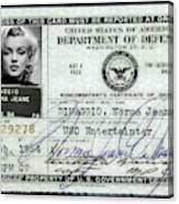 Marilyn Monroe Dept Of Defense Identification Card 1954 Canvas Print