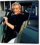Marilyn Monroe Getting Out Of A Car Canvas Print