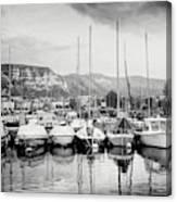 Marina Geneva Switzerland Black And White Canvas Print