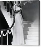 Marlene Dietrich Smoking On Staircase Canvas Print