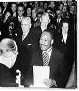 Martin Luther King Receiving Nobel Prize Canvas Print