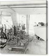 Men Building Ships Canvas Print