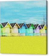 Mersea Island Beach Hut Oil Painting Look 2 Canvas Print