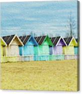 Mersea Island Beach Hut Oil Painting Look 3 Canvas Print
