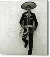 Mexican Cowboy Wearing Hat And Holding Canvas Print