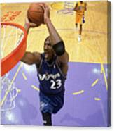Michael Jordan Goes Up For The Dunk Canvas Print