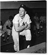 Mickey Mantle In Yankee Dugout Canvas Print