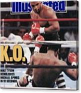 Mike Tyson, 1988 Wbcwbaibf Heavyweight Title Sports Illustrated Cover Canvas Print