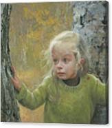 Mila Between Two Birches Canvas Print