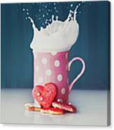 Milk And Heart Shape Cookies Canvas Print