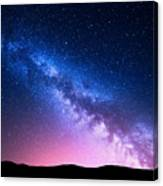 Milky Way And Pink Light At Mountains Canvas Print