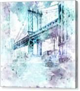 Modern Art Nyc Manhattan Bridge - Jazzy Watercolor Canvas Print