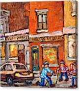 Molly And Bill's Duluth Near Coloniale And St Dominique C Spandau Plateau Mont Royal Hockey Artist  Canvas Print
