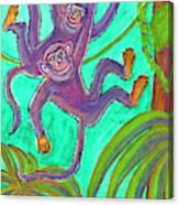 Monkeys On Creepers Canvas Print