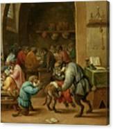 Monos En La Escuela   Canvas Print