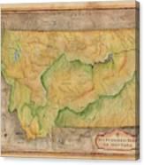 Montana Custom Map Art Rivers Map Hand Painted Canvas Print
