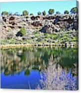 Montezuma's Well Az Water Blue Sky Reflections Stone Wall 3192019 5253. Canvas Print